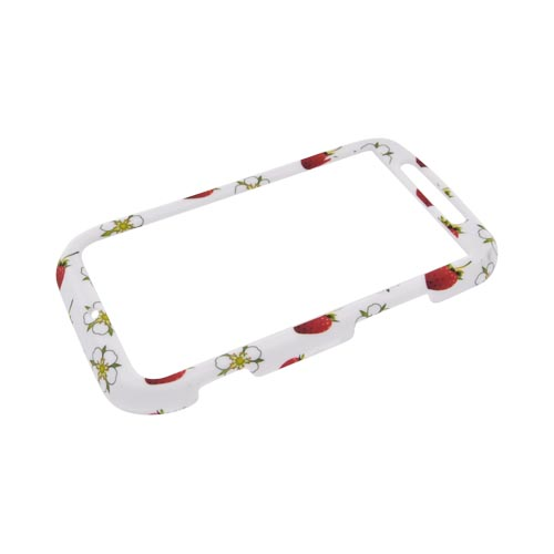 Motorola Photon 4G Rubberized Hard Case - Red Strawberries & White Flowers on White