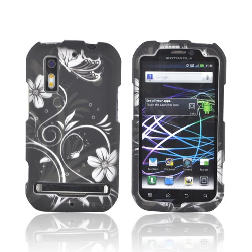 Motorola Photon 4G Rubberized Hard Case - White Butterflies & Flowers on Black