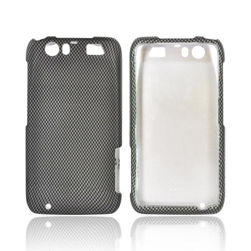 Motorola Atrix HD Rubberized Hard Case - Black/ Gray Carbon Fiber Design