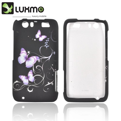 Motorola Atrix HD Rubberized Hard Case - Purple Butterflies on Black