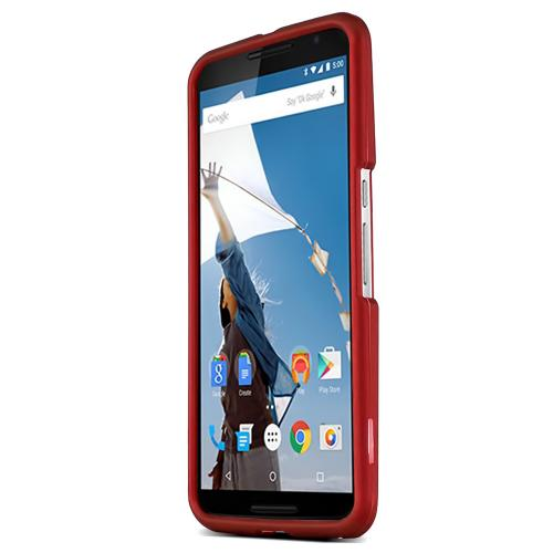 Motorola Nexus 6 Protective Rubberized Hard Case - Anti-Slip Matte Rubber Material [Slim and Perfect Fitting Motorola Nexus 6 (2014) Case] [Red]