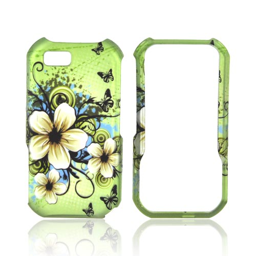 Motorola TITANIUM Rubberized Hard Case - White Hawaiian Flowers on Green