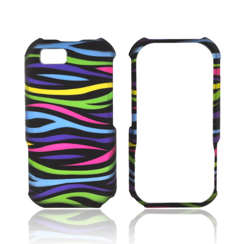 Motorola TITANIUM Rubberized Hard Case - Rainbow Zebra on Black