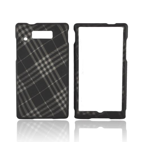 Motorola Triumph Rubberized Hard Case - Gray Plaid on Black
