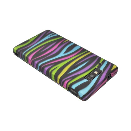 Motorola Triumph Hard Rubberized Case - Rainbow Zebra on Black