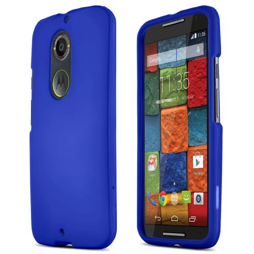 Motorola Moto X (2014) Protective Rubberized Hard Case - Anti-slip Matte Rubber Material [Perfect Fitting Motorola Moto X (2014) (2014) Case] [blue]
