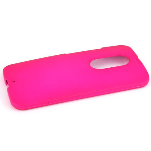 Motorola Moto X (2014) Protective Rubberized Hard Case - Anti-slip Matte Rubber Material [Perfect Fitting Motorola Moto X (2014) Case] [hot Pink]