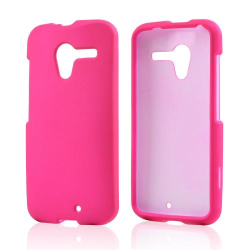 Hot Pink Rubberized Hard Case for Motorola Moto X(2013 1st Gen)