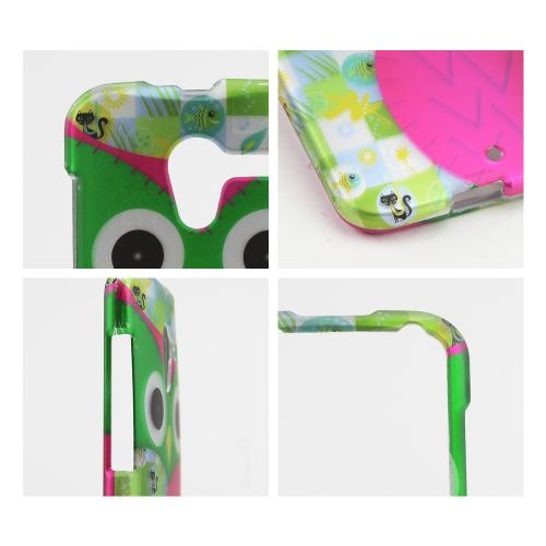 Hot Pink/ Green Owl Rubberized Hard Case for Motorola Moto X(2013 1st Gen)