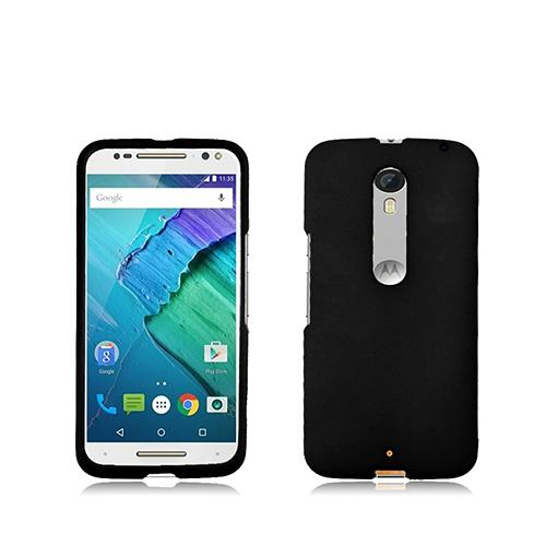 Motorola Moto X Pure Edition Case, [Black] Slim & Protective Rubberized Matte Hard Plastic Case