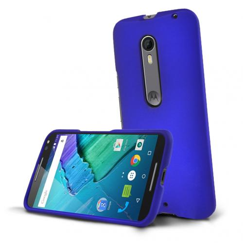 Motorola Moto X Pure Edition Case, [Blue] Slim & Protective Rubberized Matte Hard Plastic Case