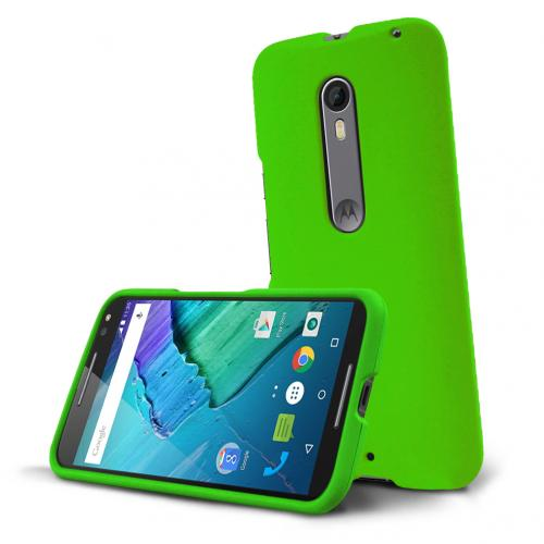 Motorola Moto X Pure Edition Case, [Green] Slim & Protective Rubberized Matte Hard Plastic Case