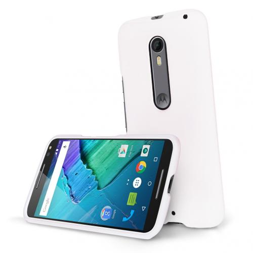 Motorola Moto X Pure Edition Case, [White] Slim & Protective Rubberized Matte Hard Plastic Case