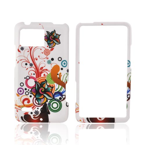 Motorola Droid Bionic XT875 Rubberized Hard Case - Rainbow Autumn Flowers on White