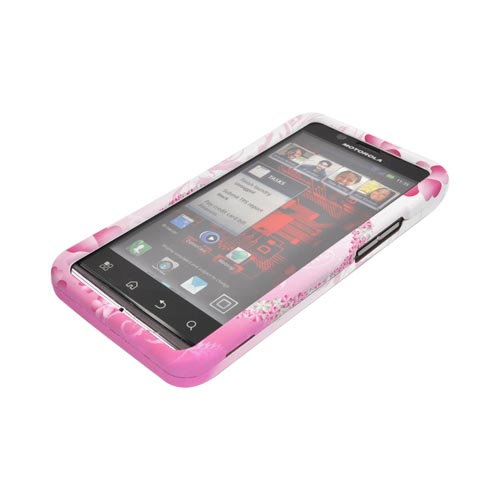 Motorola Droid Bionic XT875 Rubberized Hard Case - Flower Peace Design on Pink