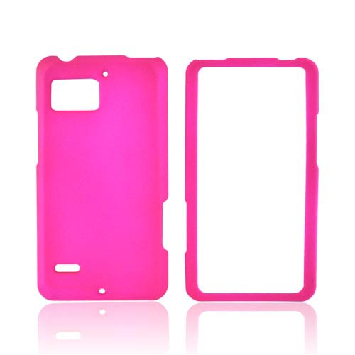 Motorola Droid Bionic XT875 Rubberized Hard Case - Hot Pink
