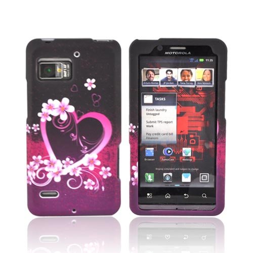 Motorola Droid Bionic XT875 Rubberized Hard Case - Hot Pink/ Purple Flowers & Hearts