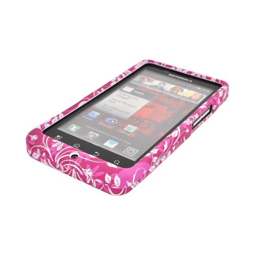 Motorola Droid Bionic XT875 Rubberized Hard Case - White Vines & Flowers on Magenta