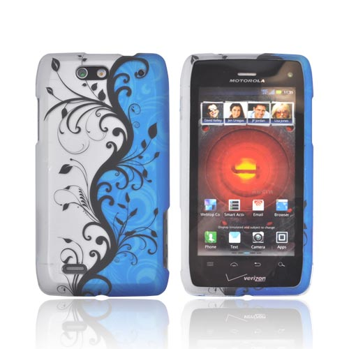 Motorola Droid 4 Rubberized Hard Case - Black Vines on Blue/ Silver