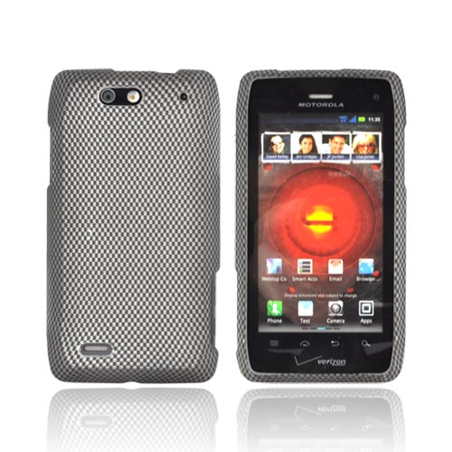 Motorola Droid 4 Rubberized Hard Case - Carbon Fiber