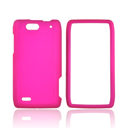 Motorola Droid 4 Rubberized Hard Case - Hot Pink