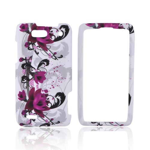 Motorola Droid 4 Rubberized Hard Case - Pink Flowers on White