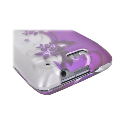 Motorola Droid 4 Rubberized Hard Case - Purple Flowers on Purple/ Silver