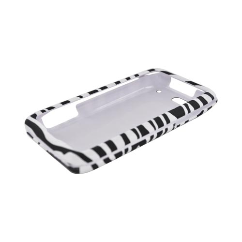 Motorola Droid 4 Rubberized Hard Case - Black/ White Zebra