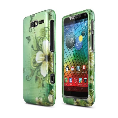 White Hawaiian Flowers on Green Hard Case for Motorola Droid RAZR M