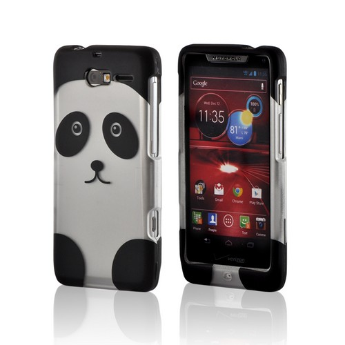 Silver/ Black Panda Rubberized Hard Case for Motorola Droid RAZR M