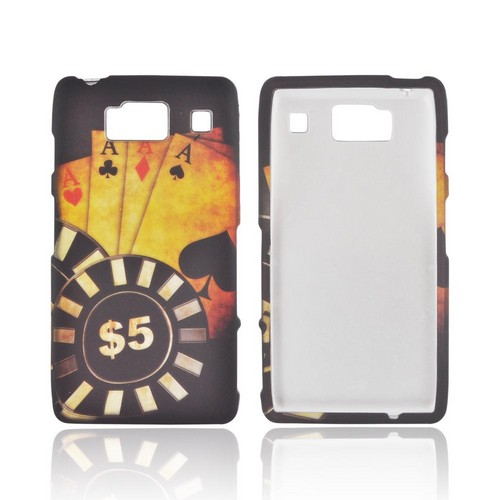 Motorola Droid RAZR HD Rubberized Hard Case - Black/ Gold Aces Poker