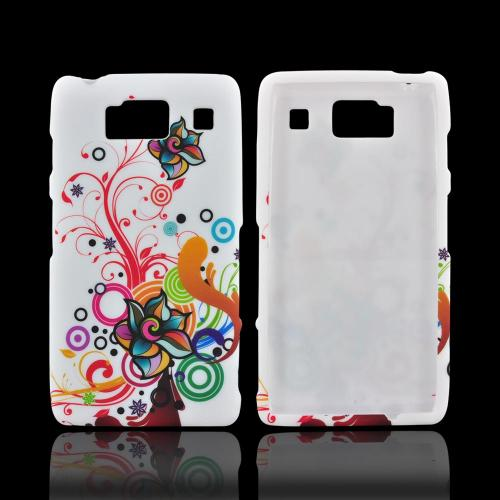 Motorola Droid RAZR HD Rubberized Hard Case - Autumn Floral Burst on White