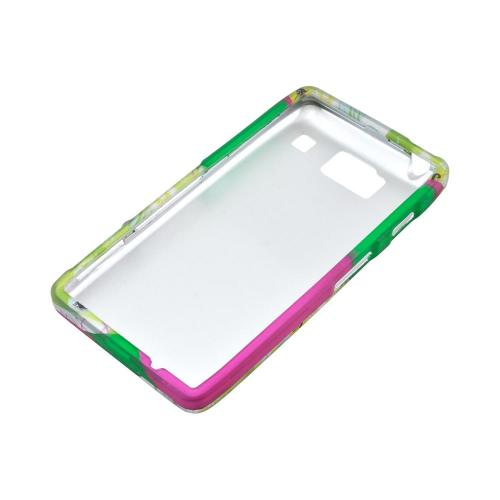 Motorola Droid RAZR HD Rubberized Hard Case - Green/ Hot Pink Owl Design