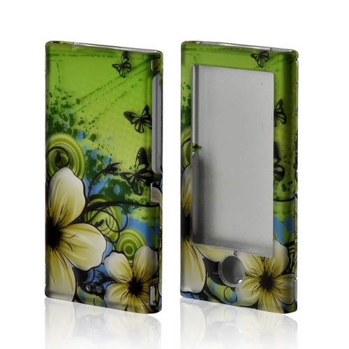White Hawaiian Flowers on Green Rubberized Hard Case for Apple iPod Nano 7