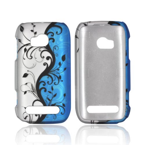 Nokia Lumia 710 Rubberized Hard Case - Black Vines on Blue/ Silver