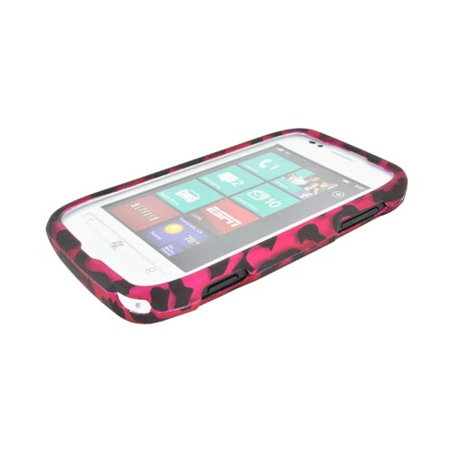 Nokia Lumia 710 Rubberized Hard Case - Hot Pink/ Black Leopard