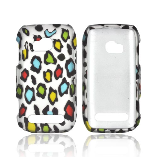 Nokia Lumia 710 Rubberized Hard Case - Rainbow Leopard on Silver