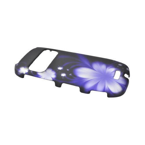 Nokia Astound C7-00 Rubberized Hard Case - Purple Flowers on Black