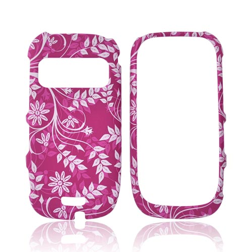Nokia Astound C7-00 Rubberized Hard Case - White Vines on Pink