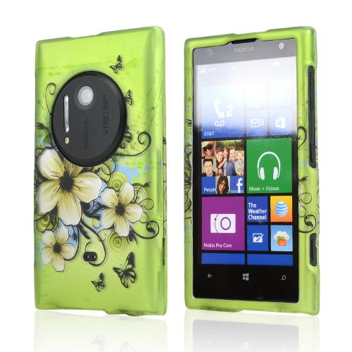 White Hawaiian Flowers on Green Rubberized Hard Case for Nokia Lumia 1020