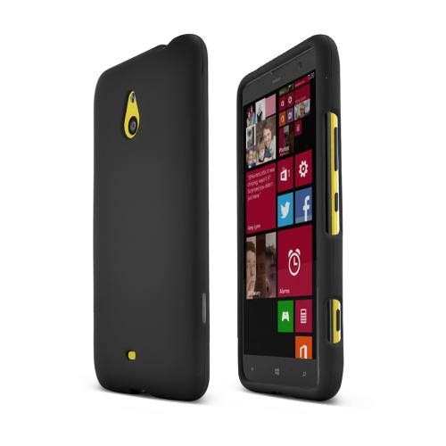 Black Nokia Lumia 1320 Matte Rubberized Hard Case Cover; Perfect fit as Best Coolest Design Plastic Cases