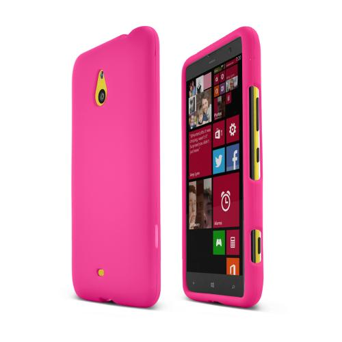 Hot Pink Nokia Lumia 1320 Matte Rubberized Hard Case Cover; Perfect fit as Best Coolest Design Plastic Cases