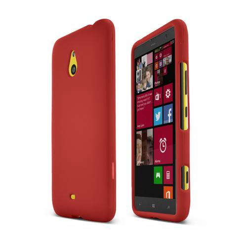 Red Nokia Lumia 1320 Matte Rubberized Hard Case Cover; Perfect fit as Best Coolest Design Plastic Cases