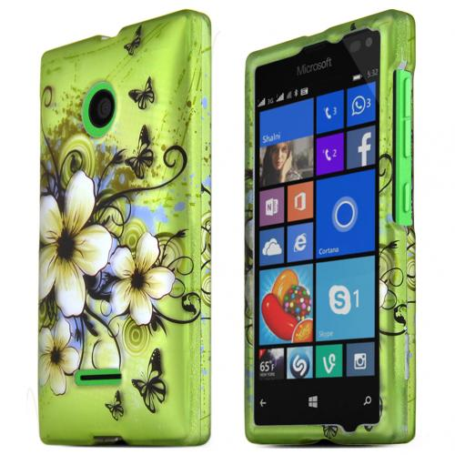 Nokia Lumia 435 Case, GREEN HAWAIIAN FLOWERS Slim & Protective Rubberized Matte Hard Plastic Case