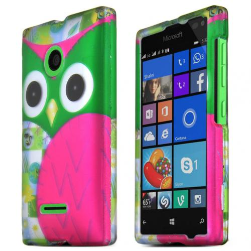 Nokia Lumia 435 Case, GREEN OWL Slim & Protective Rubberized Matte Hard Plastic Case