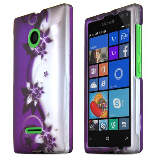 Nokia Lumia 435 Case, PURPLE VINES Slim & Protective Rubberized Matte Hard Plastic Case