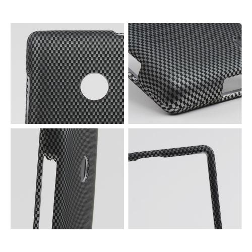 Black/ Gray Carbon Fiber Design Rubberized Hard Case for Nokia Lumia 521