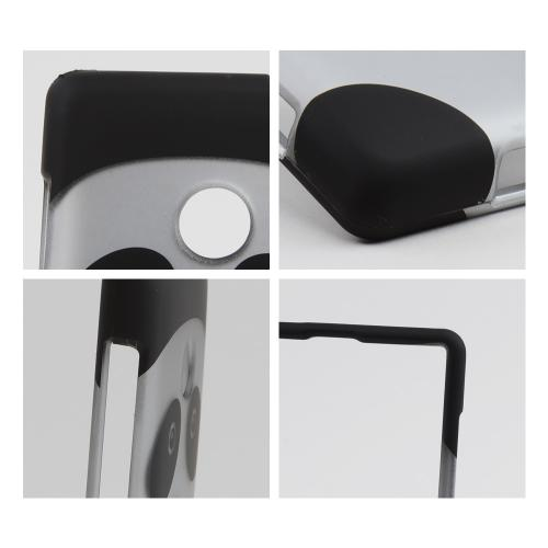 Silver/ Black Panda Bear Rubberized Hard Case for Nokia Lumia 521