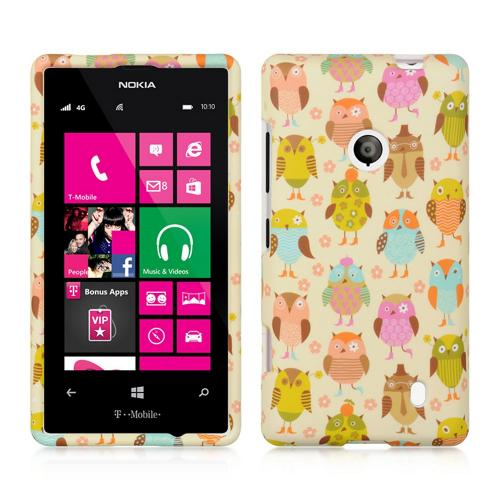 Retro Owls on Cream Rubberized Hard Case for Nokia Lumia 521
