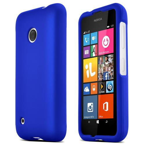 Nokia Lumia 530 Protective Rubberized Hard Case - Anti-Slip Matte Rubber Material [Slim and Perfect Fitting Nokia Lumia 530 Case] [Blue]